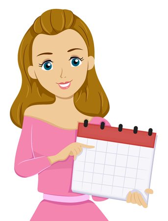 classes schedule: Illustration of a Teenage Girl Pointing to a Date on a Calendar Stock Photo