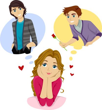 adolescencia: Ilustración de un adolescente Fantasear sobre ella aplasta