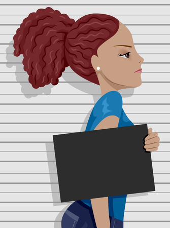 teenage: Side View Illustration of an Angry Teenage Girl Posing for a Mug Shot