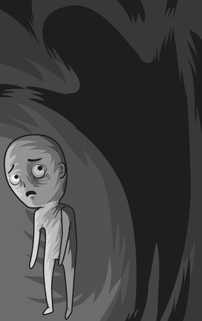 paranoia: Illustration of a Shadow Hovering Over a Paranoid Man