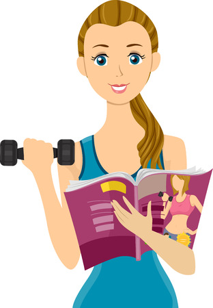 teenage girl: Illustration of a Teenage Girl Lifting a Dumbbell  While Reading a Magazine Stock Photo