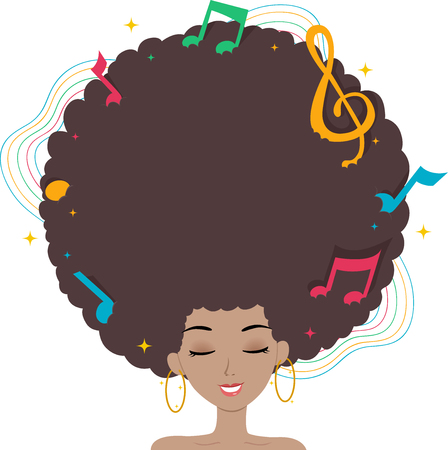 black woman: Illustration of a Black Woman with Music Notes on Her Afro