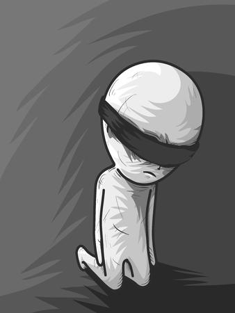 ojos vendados: Ilustración de un hombre con los ojos vendados que pasa con la Iniciación Foto de archivo