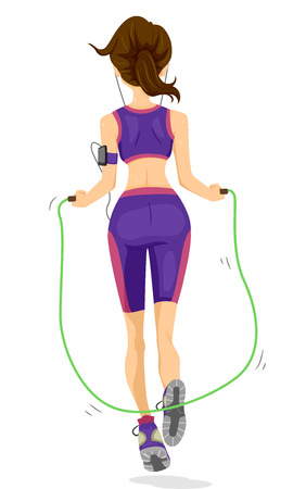 working out: Illustration of a Teenage Girl Using a Jump Rope to Work Out Stock Photo