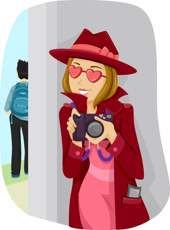 stalking: Illustration of a Lovestruck Teenage Girl Stalking Her Crush
