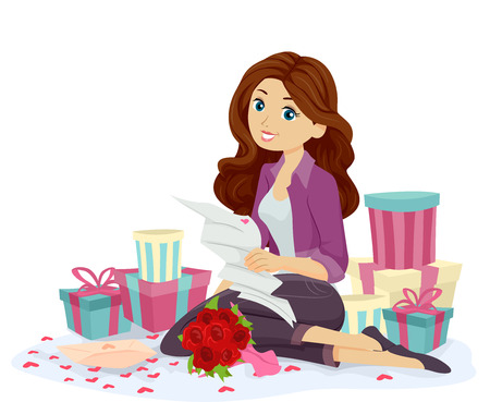 wooing: Illustration of a Teenage Girl Surrounded by Gifts Reading a Love Letter