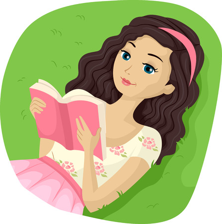 teenage girl: Illustration of a Teenage Girl Reading a Book Outdoors Stock Photo