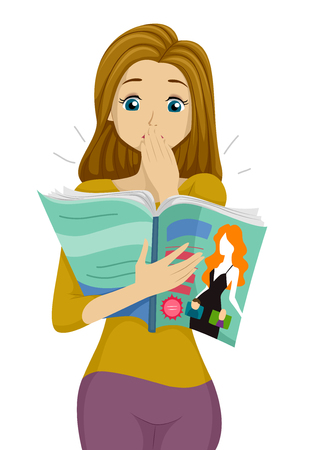 reads: Illustration of a Teenage Girl Surprised by What She Read on a Magazine