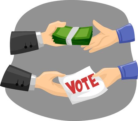 campaigning: Illustration of Political Candidates Buying Votes