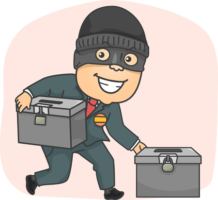 campaigning: Illustration of a Masked Criminal Stealing Ballot Boxes