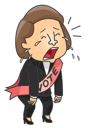 failed politics: Illustration of a Female Candidate Crying After Losing Stock Photo