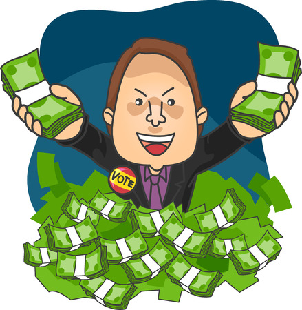 campaigning: Illustration of a Political Candidate Drowning in Money Stock Photo
