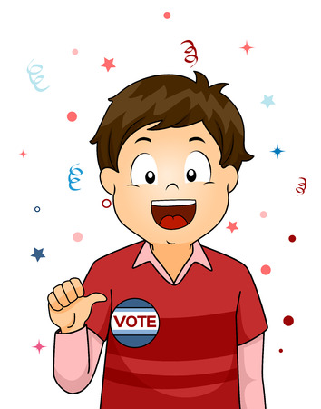 woo: Illustration of a Little Boy Showing a Badge That Says Vote