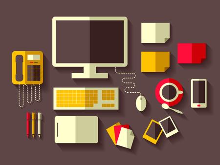 secretaria: Ilustración con las cosas que se encuentran comúnmente en escritorios de oficina