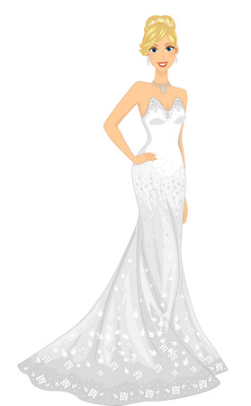 strapless: Illustration of a Lovely Bride Wearing a Strapless Gown