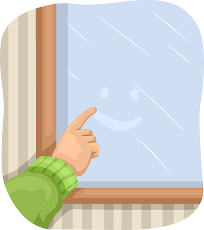 panes: Illustration of a Kid Drawing a Smiley on a Foggy Window Stock Photo