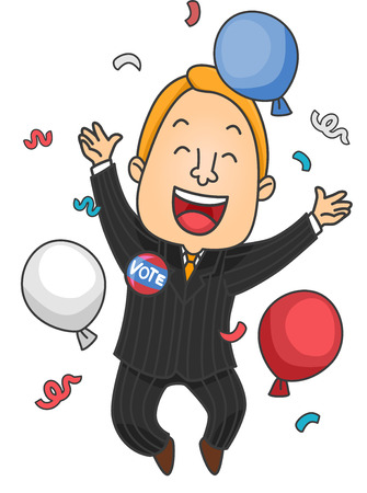 glad: Illustration of a Male Political Candidate Celebrating His Win Stock Photo