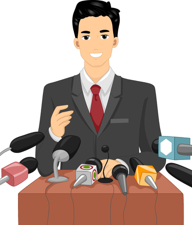 campaigning: Illustration of a Politician Speaking in Front of a Crowd of Journalists Stock Photo