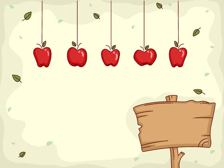Board Illustration Featuring Apples Hanging from Above