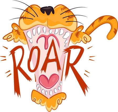 onomatopoeia: Illustration of a Tiger Roaring