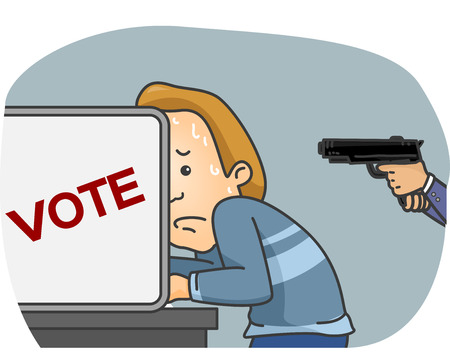 Illustration of a Man Being Forced to Vote for a Candidate at Gunpoint Stock Photo