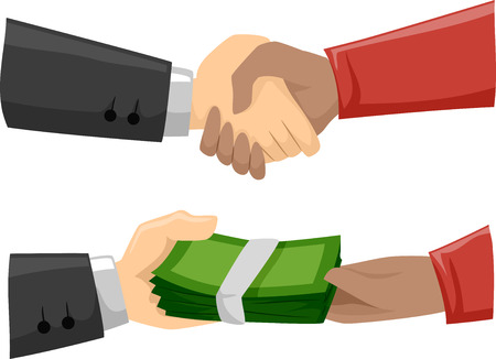 Illustration of Men Striking a Shady Deal Stock Photo