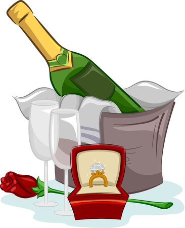 fine dining: Illustration of Elements Related to Engagement Proposals Stock Photo