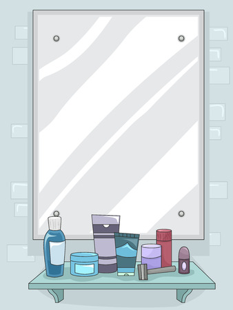 vanity: Illustration of a Mirror with Grooming for Products for Men Displayed on the Shelf Stock Photo
