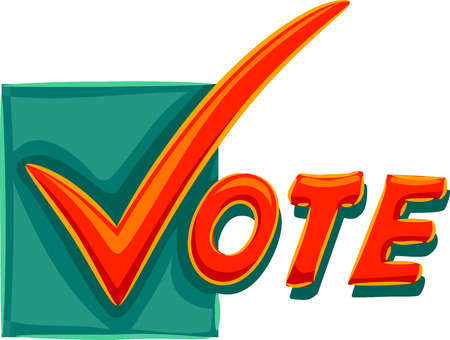 Typography Illustration of a Check Mark Spelling the Word Vote Stock Photo