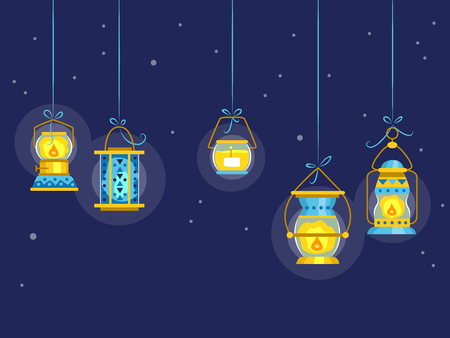 gazing: Illustration Featuring Colorful Night Lamps Stock Photo