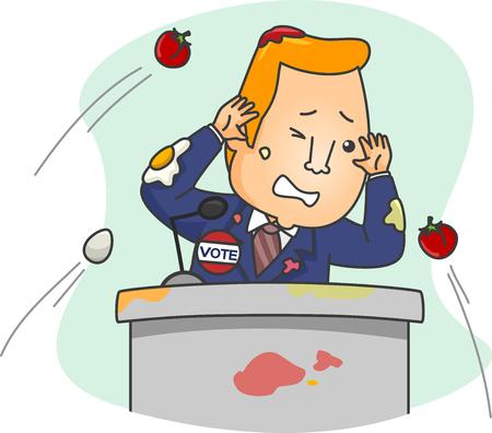 desprecio: Ilustración de una multitud lanzando manzanas a un candidato político