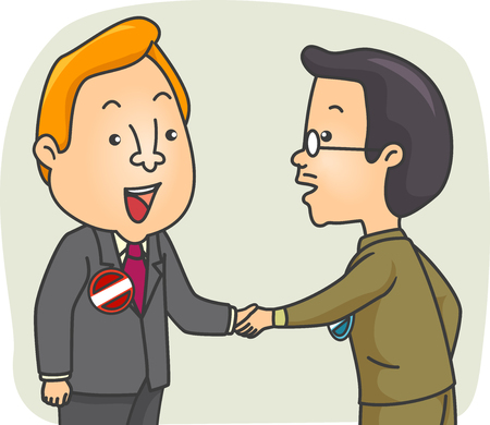 campaigning: Illustration of a Pair of Male Candidates Shaking Hands Stock Photo