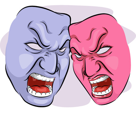 reliance: Illustration of a Pair of Angry Looking Masks Depicting Codependency