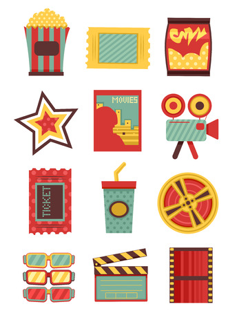 oldies: Flat Illustration Featuring Movie Elements