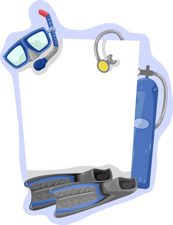 art activity: Illustration of a Frame Featuring Diving Gear Stock Photo