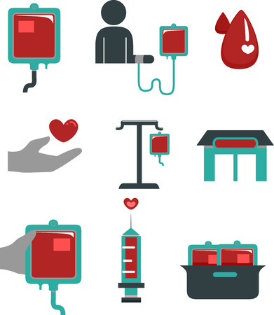 blood supply: Flat Illustration Featuring Blood Donation Elements