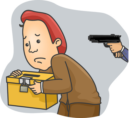 held: Illustration of a Man Carrying a Ballot Box Being Held at Gunpoint Stock Photo