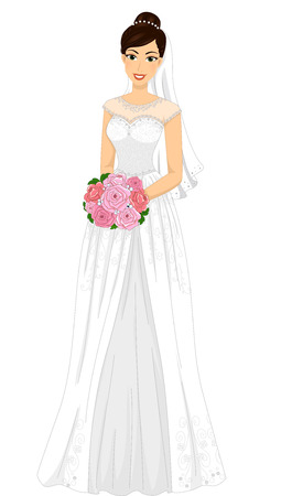 nuptials: Illustration of a Lovely Bride in a Minimalist Gown