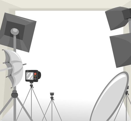 used: Frame Illustration Featuring Equipment Commonly Used During Photo Shoots Stock Photo