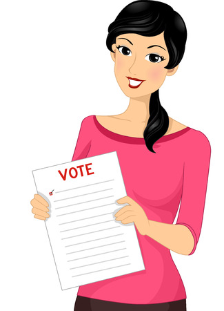 voter: Illustration of a Female Voter Holding Out a Ballot