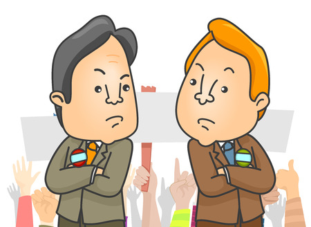 Illustration of Two Politicians Embroiled in Bitter Rivalry
