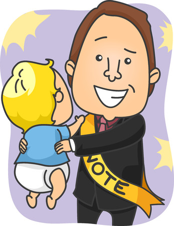 campaigning: Illustration of a Male Political Candidate Lifting a Baby