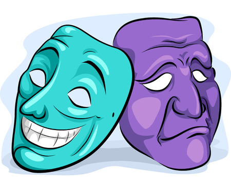 personality: Illustration of a Pair of Masks Depicting Personality Disorder