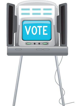 voting: Illustration of a Machine with the Word Vote Flashing on It Stock Photo
