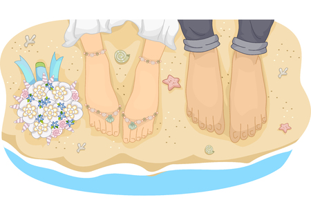 feet in sand: Illustration of a Newlywed Couple Standing by the Beach Stock Photo
