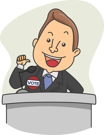 solicitation: Illustration of a Political Candidate Delivering a Speech