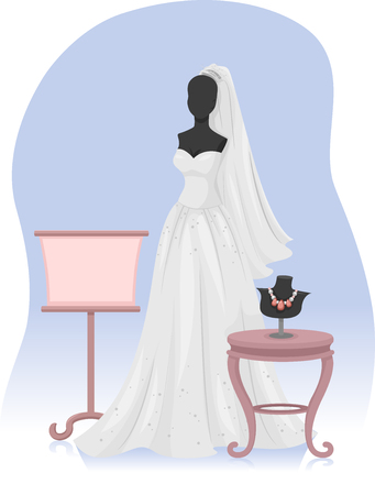 bridal gown: Illustration of a Mannequin Wearing a Bridal Gown Stock Photo