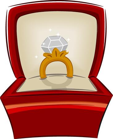verlobung: Illustration eines offenen Schmuckschatulle mit einem Diamant-Ring Innen