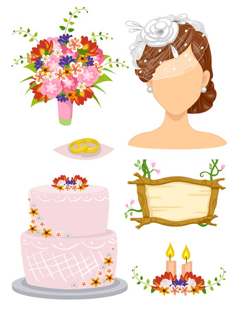 nuptials: Illustration of Elements Related to a Garden Wedding