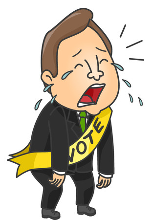 failed politics: Illustration of a Male Political Candidate Crying After Losing Stock Photo